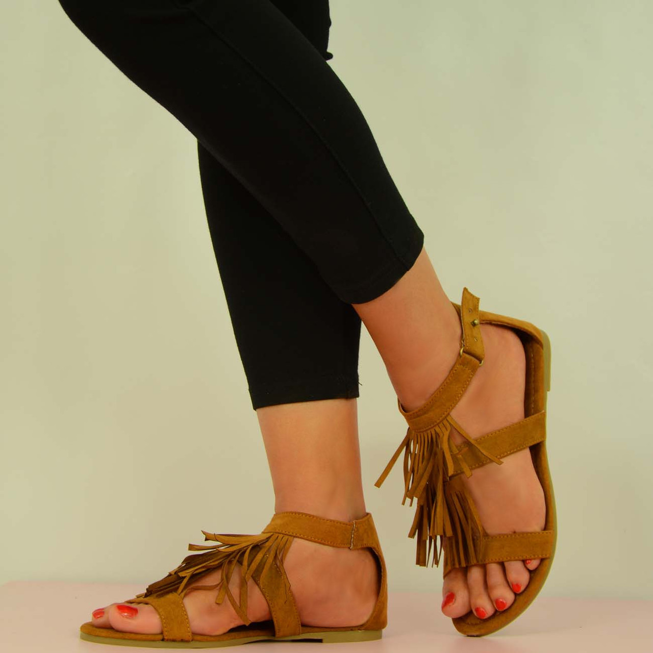 NEW WOMENS SUMMER FLAT SANDALS LADIES TAN SUEDE FRINGE SHOES SIZE UK 3 3.5  4 5 6 6.8 7 8
