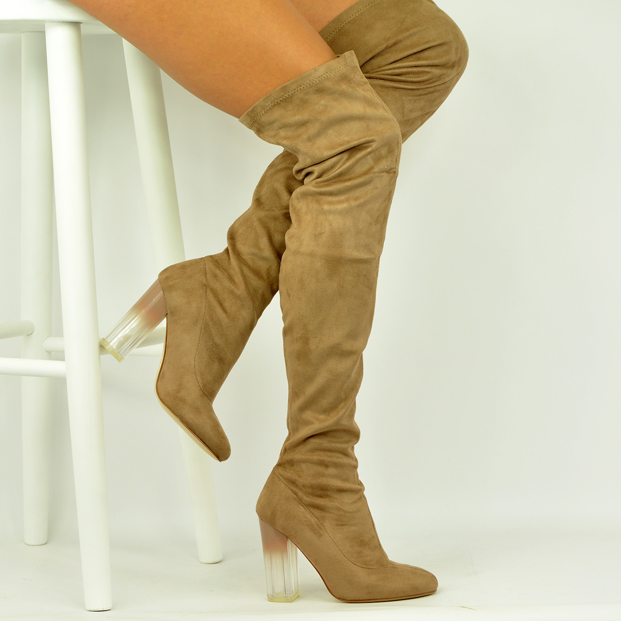 8e3679af33 New Womens High Block Clear Heel Taupe Suede Over The Knee Boots