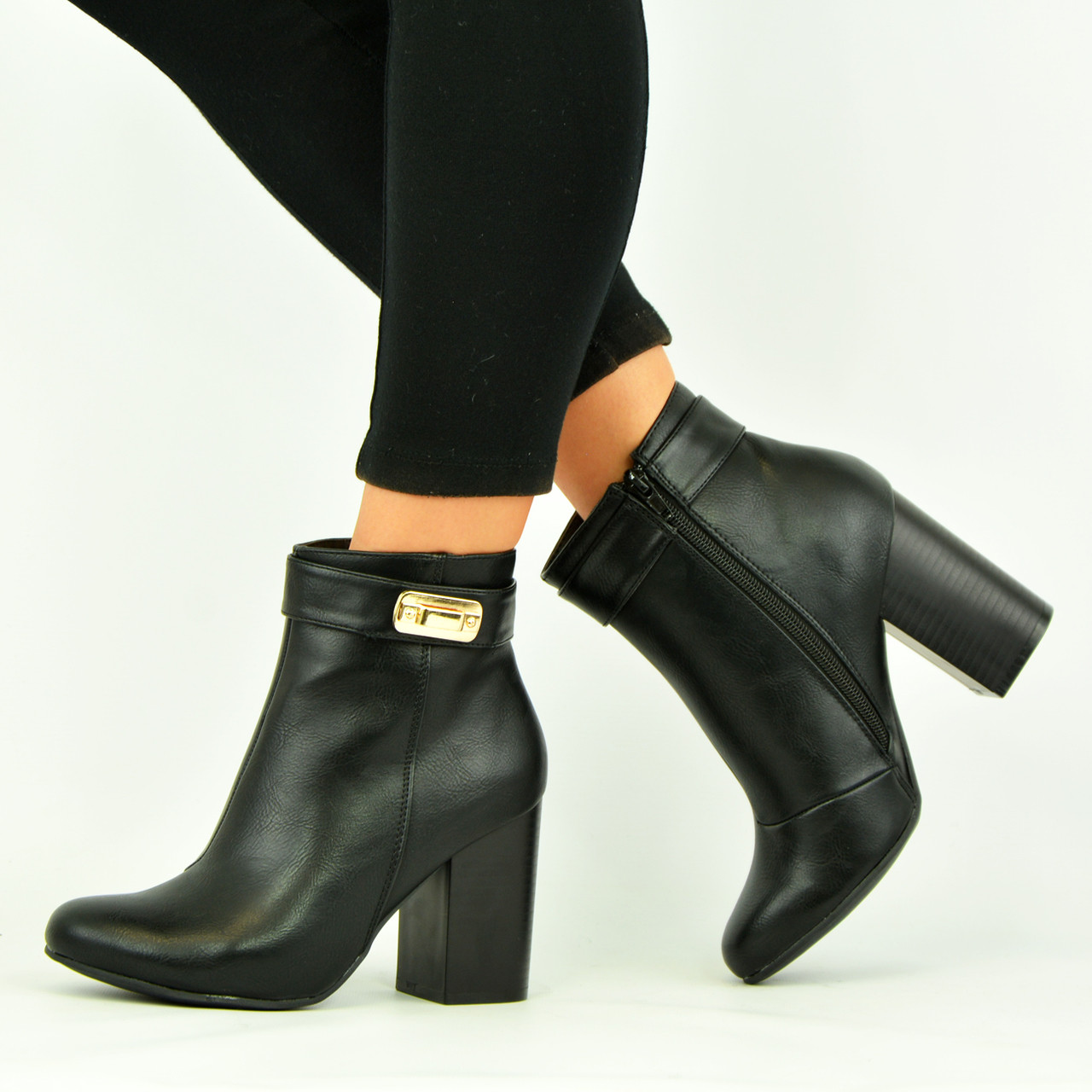 New Womens Ladies Ankle Boots High Block Heel Casual Smart Zip Shoes Size 3-8