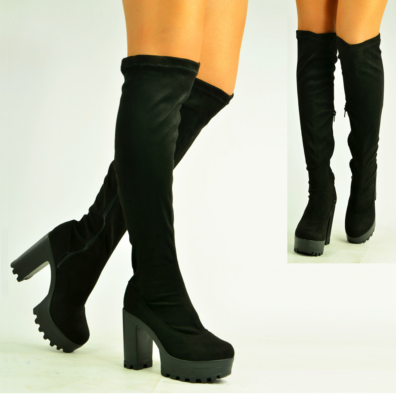 timeless design outlet boutique entire collection Ladies Knee Boots High Chunky Block Heel Platform