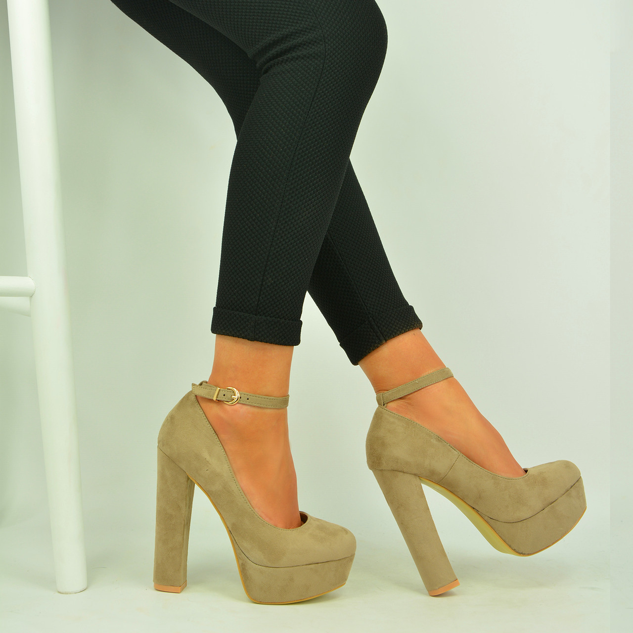 db3356addd New Womens Ladies Khaki Pumps Platform High Block Heel Sandals Shoes Size  UK 3-8