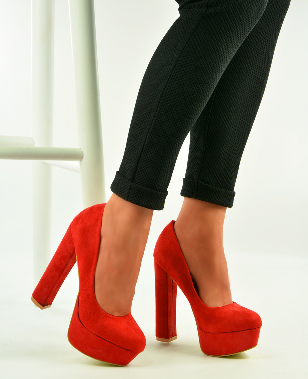 Clearance sale purchase original purchase original Red High Block Heel Platform Sandals Pumps