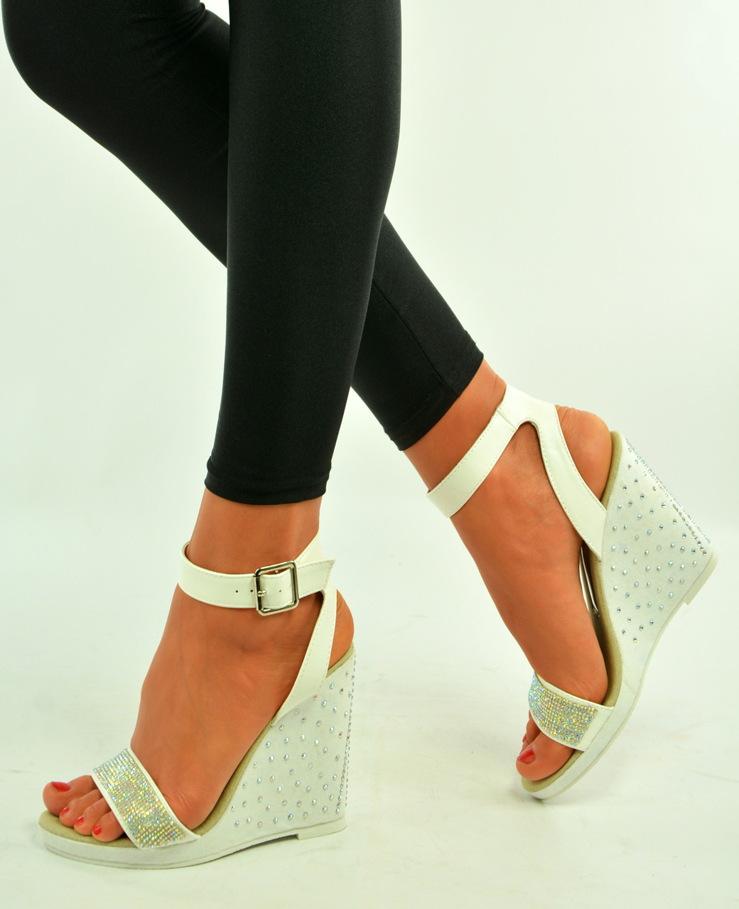 Ladies White Ankle Strap Sandals Shoes