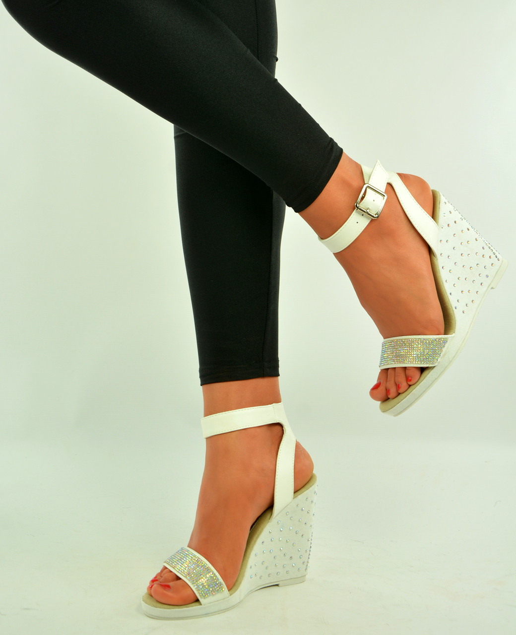 f54334169cc New Womens Studded Wedges Ladies White Ankle Strap Sandals Shoes Size Uk 3-8