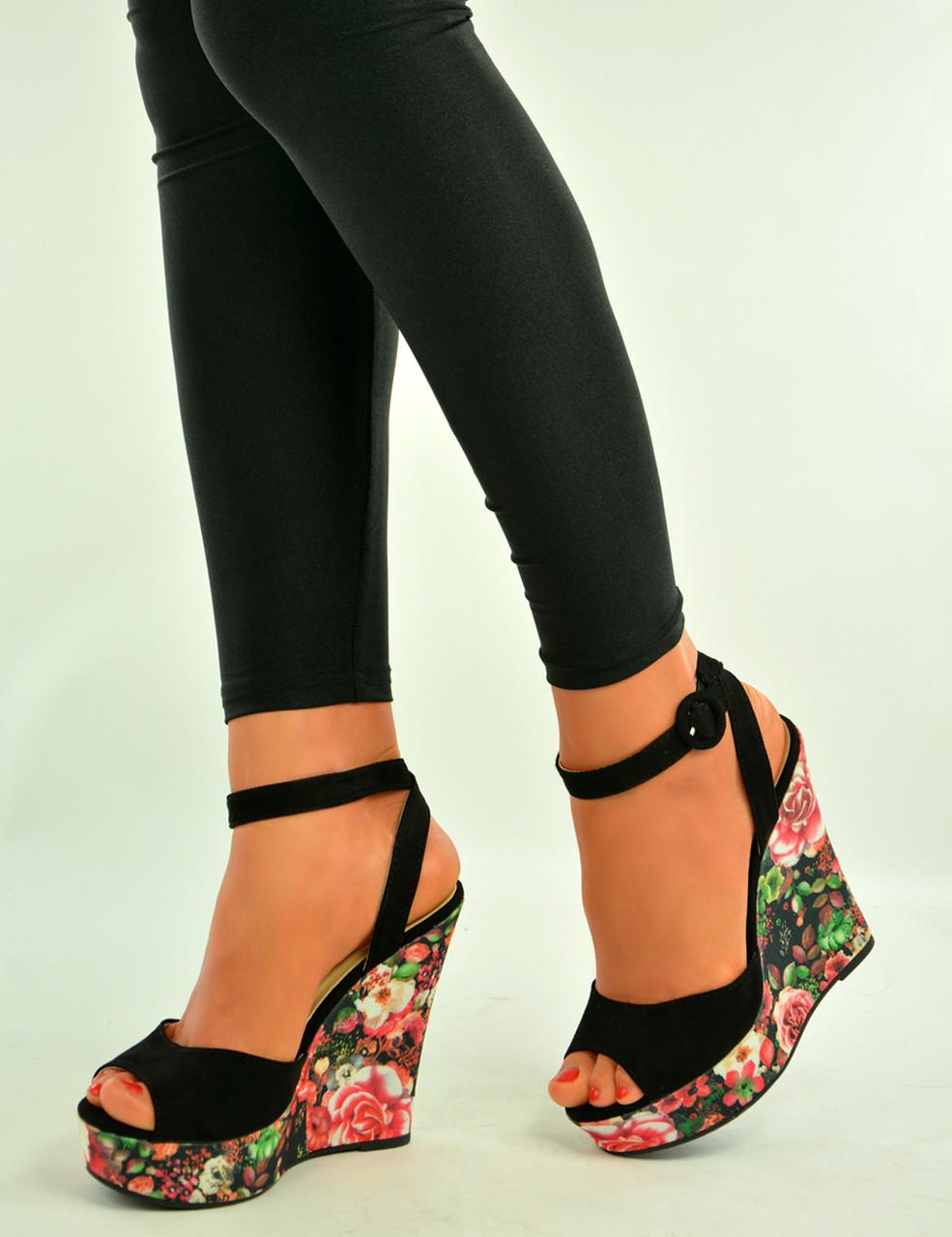 300544cd8314 Brand New Womens Ladies Black Floral Print Wedges Platform Sandals Shoes  Size Uk 3-8