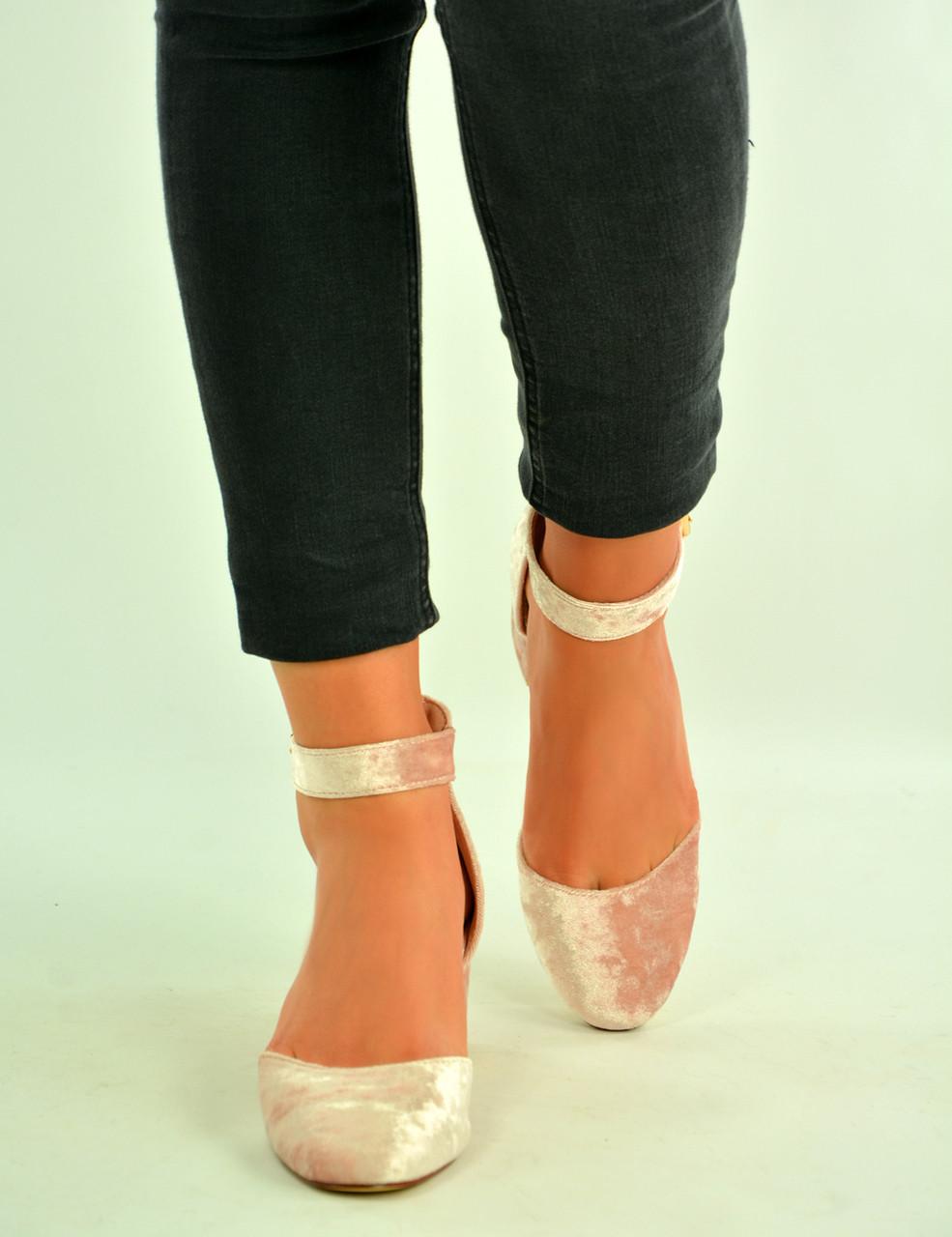 c87572440f0 Pink Velvet Ankle Strap Pumps