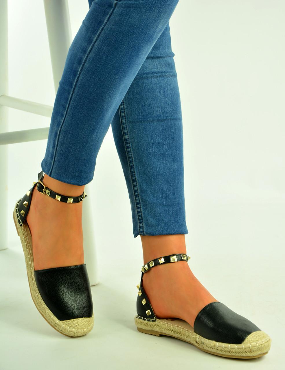 b4e0092fbea Black Pu Ankle Strap Rock Stud Espadrilles