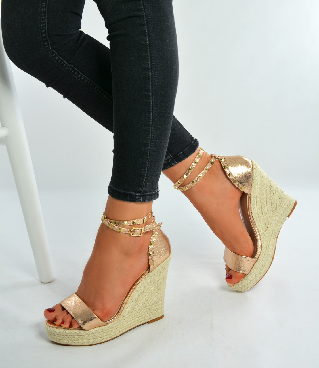 186b21362773 New Womens Ladies Espadrille High Heel Wedges Studded Platforms ...