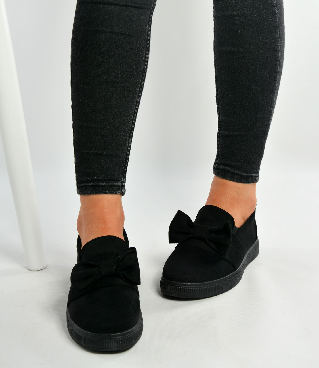 142f7b9b5798b New Womens Ladies Black Bow Sneakers Trainers Shoes Size Uk 3-8