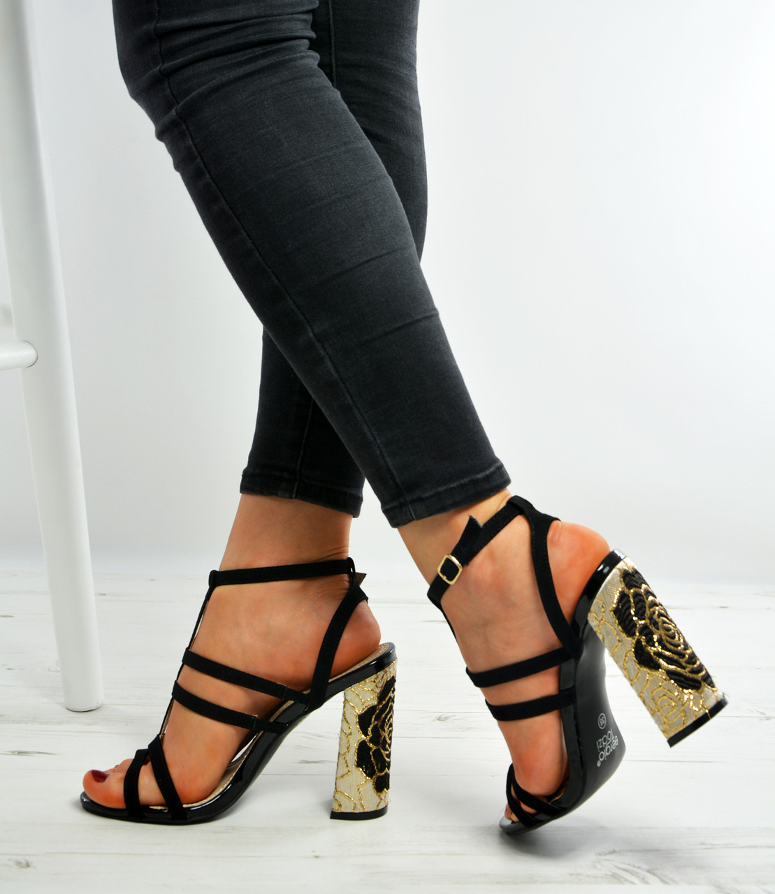 New Womens Ladies Black T Bar Floral Block Heels Sandals Shoes Size Uk 3-8