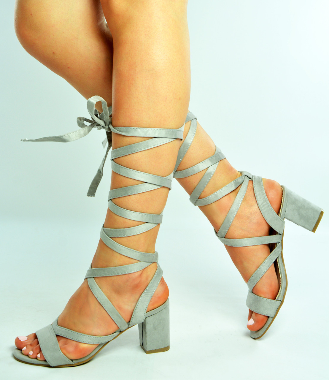 f6a4e5d1447 New Womens Ladies Grey Ankle Tie Lace Up Block Heels Sandal Shoes Size Uk  3-8