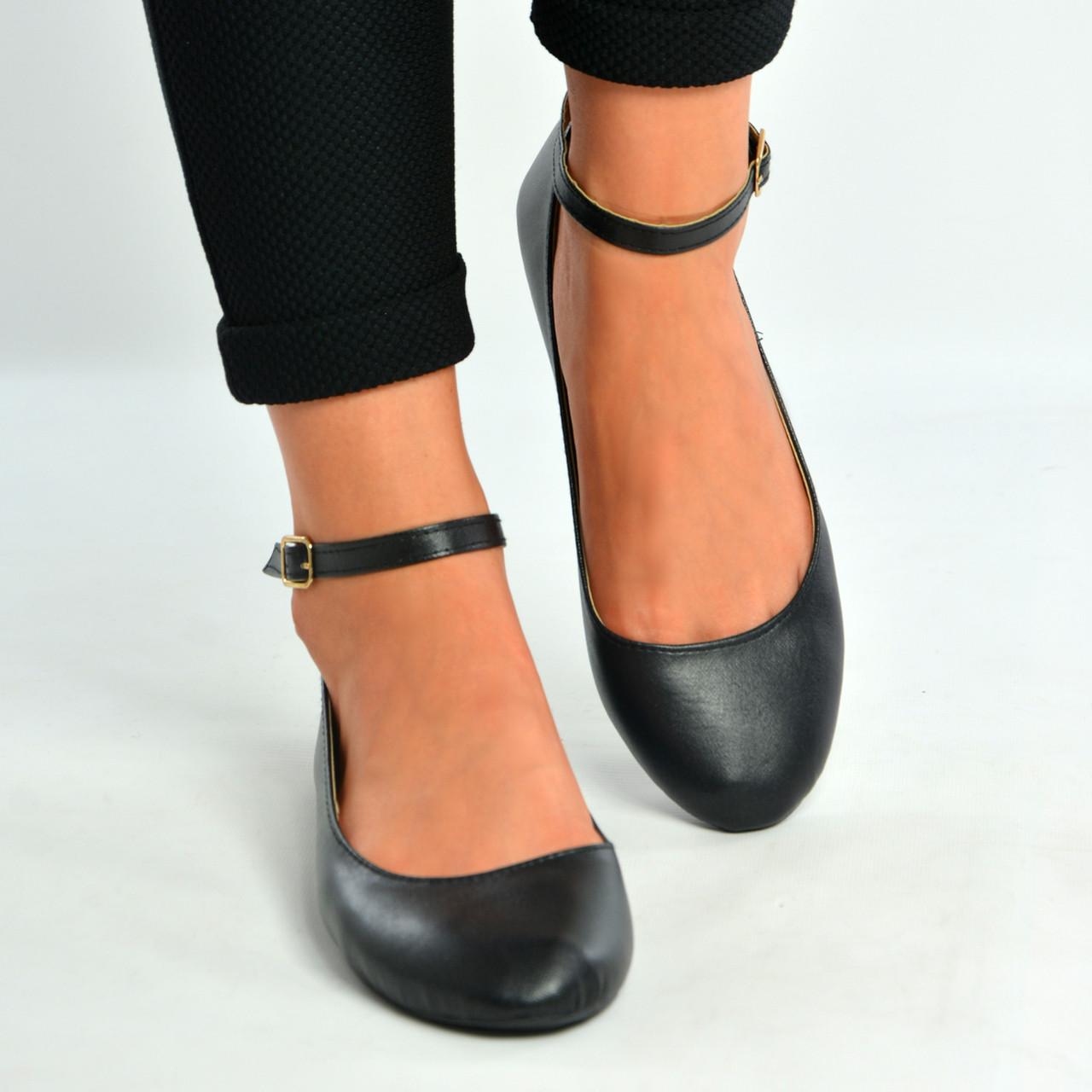 black ballet pumps with strap