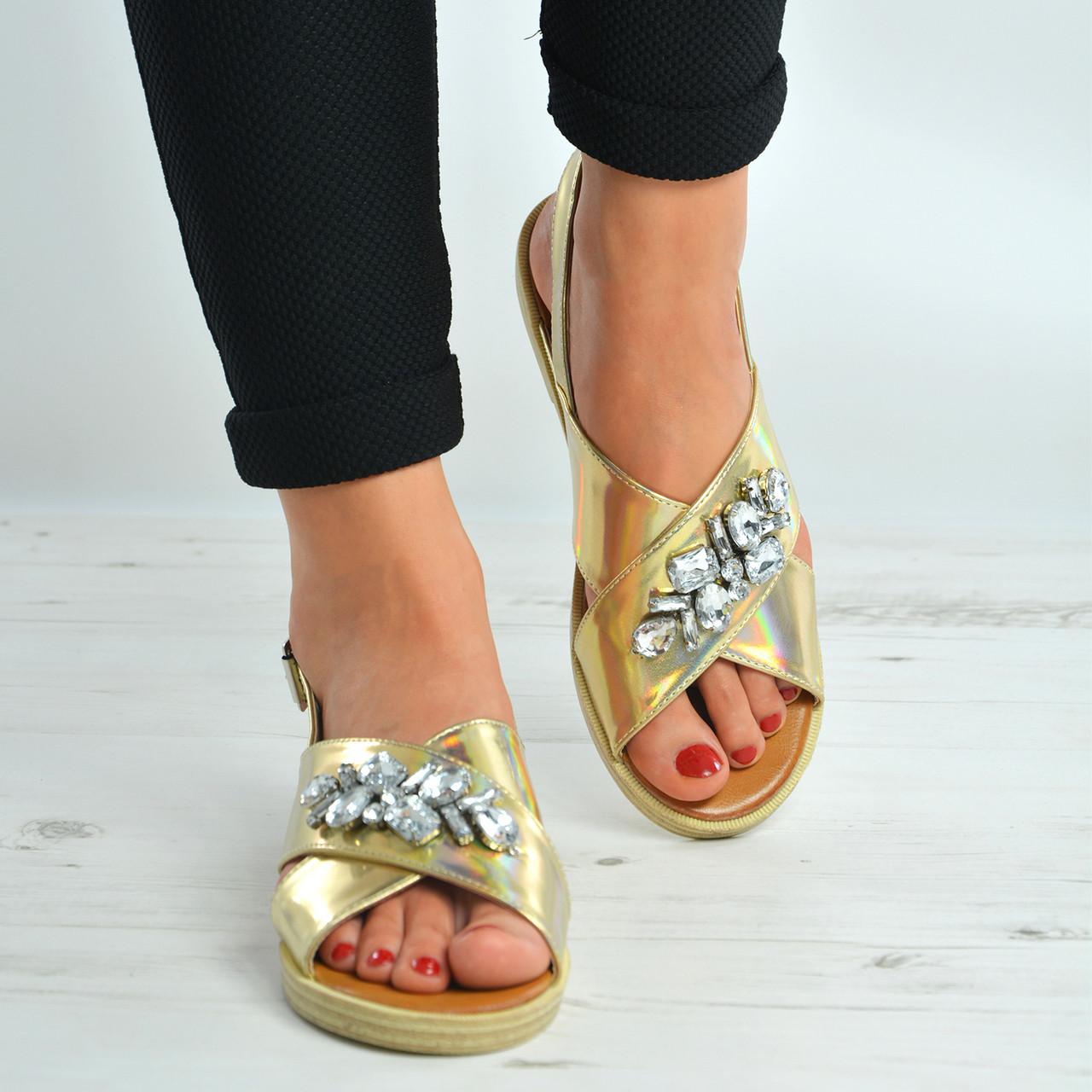 48cc6d3001e Gold Diamante Flat Sandals Shoes Size Uk 3-8