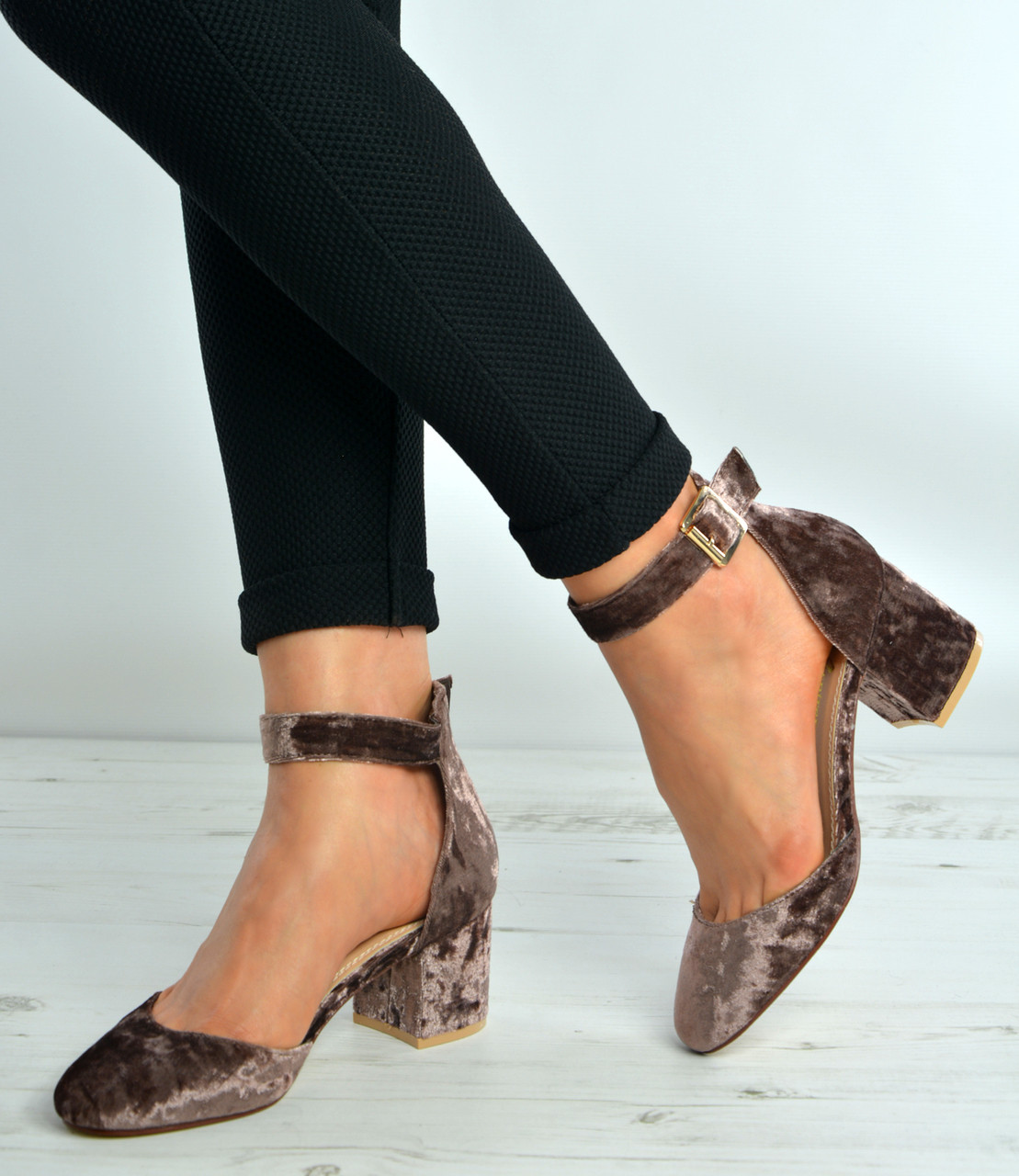 916e5fe77e3 Coffee Brown Velvet Ankle Strap Mid Block Heel Pumps Shoes Size Uk 3-8