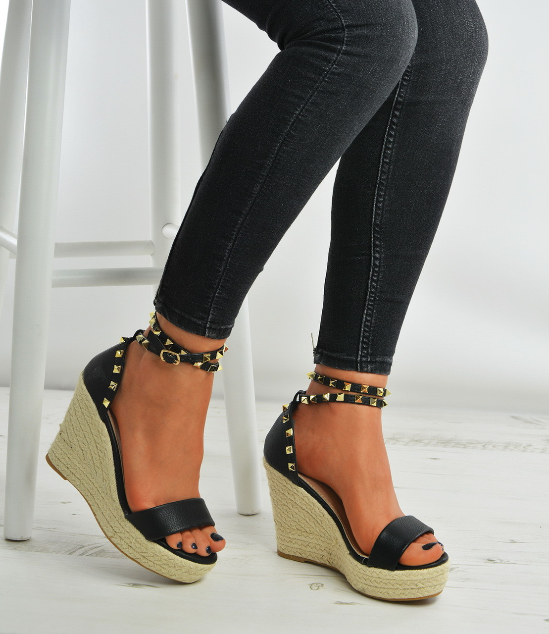 3e8222e49fa New Womens Ladies Espadrille High Heel Wedges Studded Platforms ...