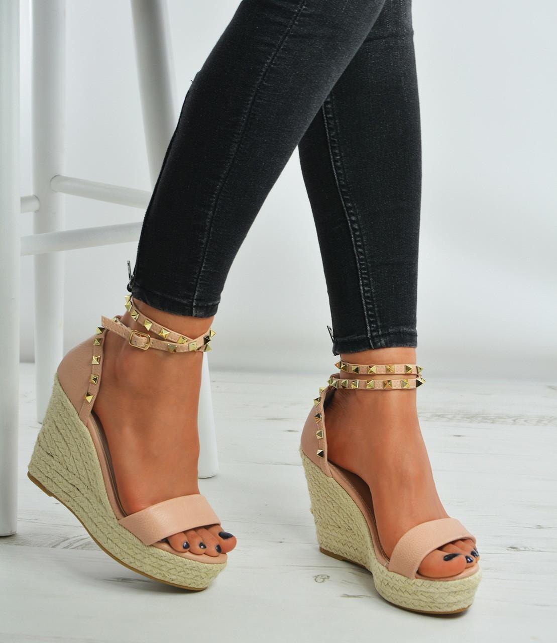 5c23b1f2149 PINK Pu Rock Studs Espadrille High Wedge Heels Platform Sandals Shoes Size  Uk 3-8