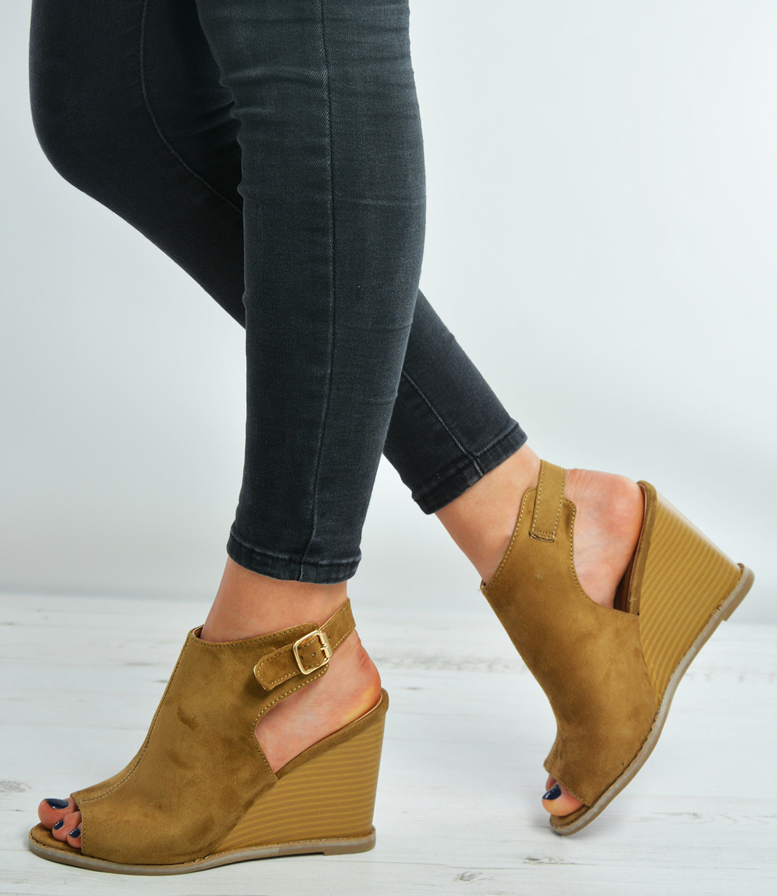 Strap Camel Suede 3 Ankle Size Shoes Wedge Sandals Uk 8 0wO8PNnyvm
