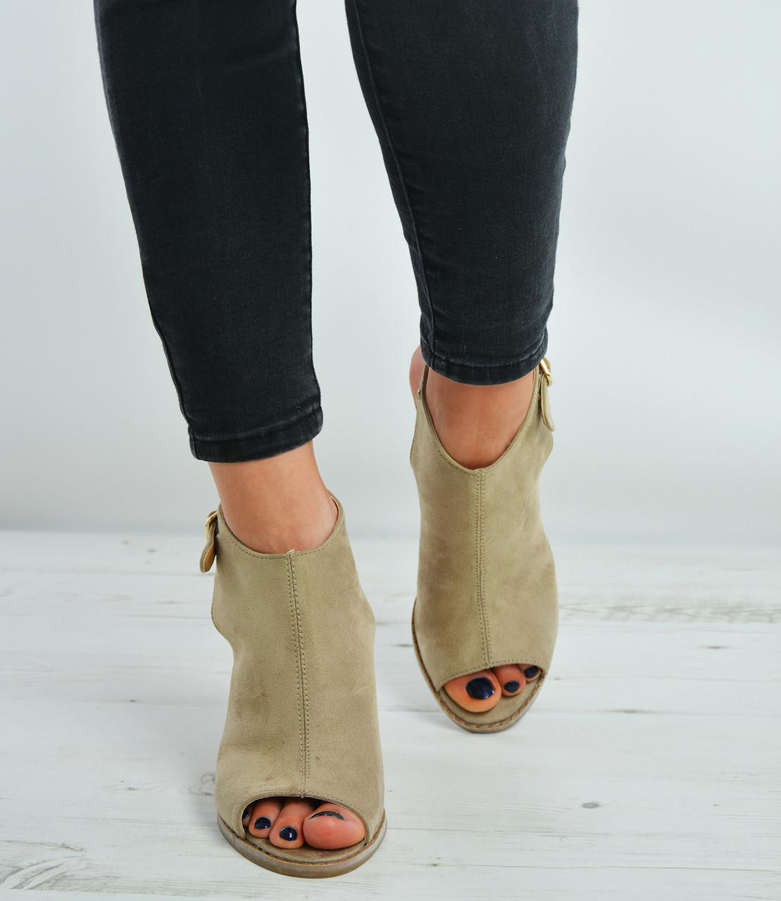 Beige Wedge Sandals Strap Ankle Suede 7yfgY6b
