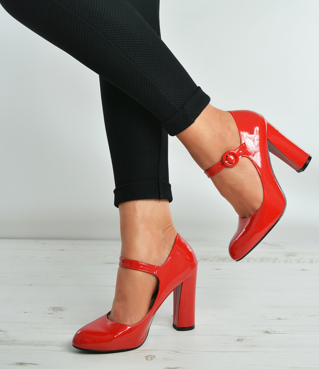 d9f71bb1636 Red Patent Ankle Strap High Block Heel Pumps Shoes Size Uk 3-8