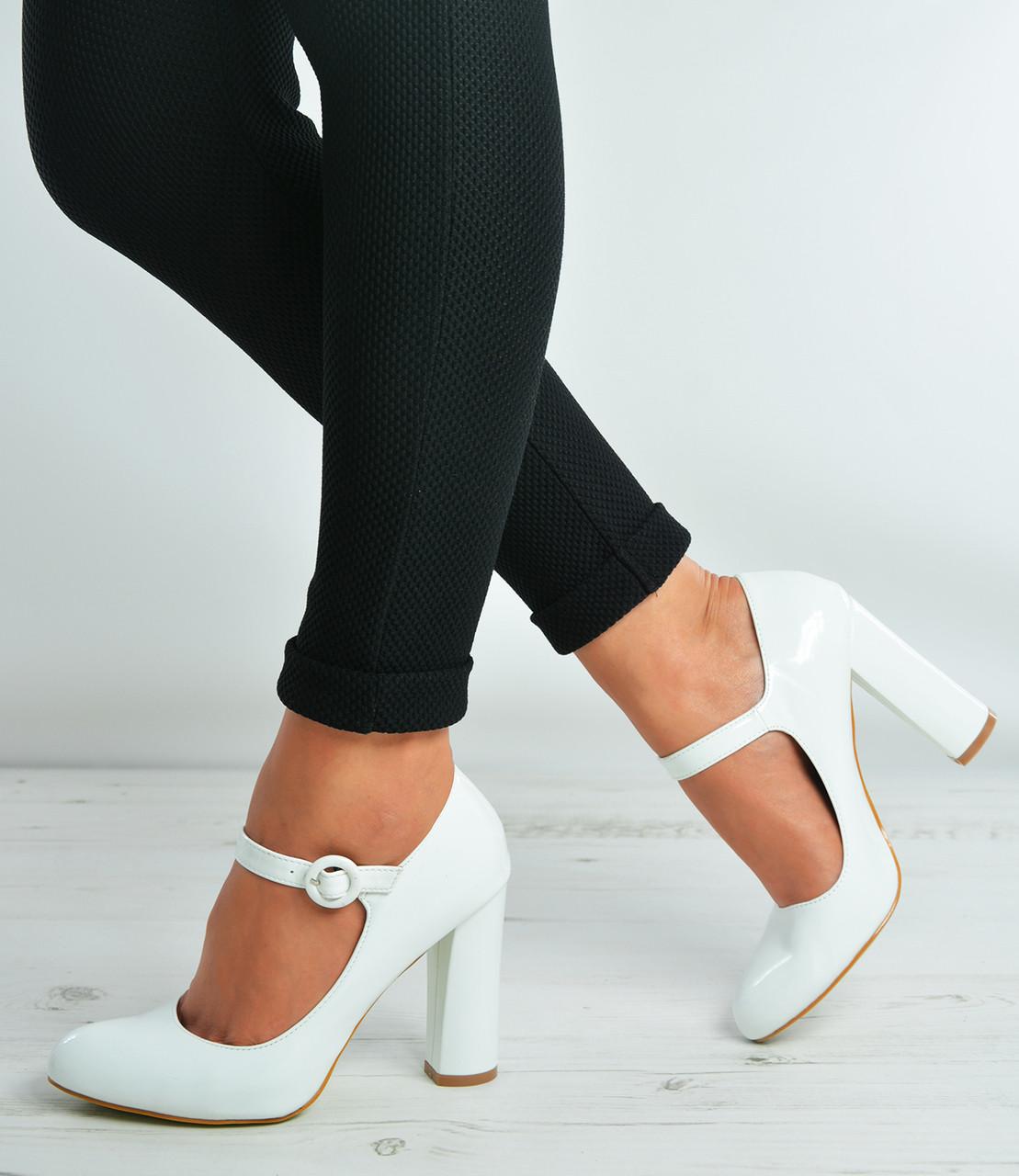 White Patent Ankle Strap Block Heel Court Pumps Shoes Size Uk 3-8