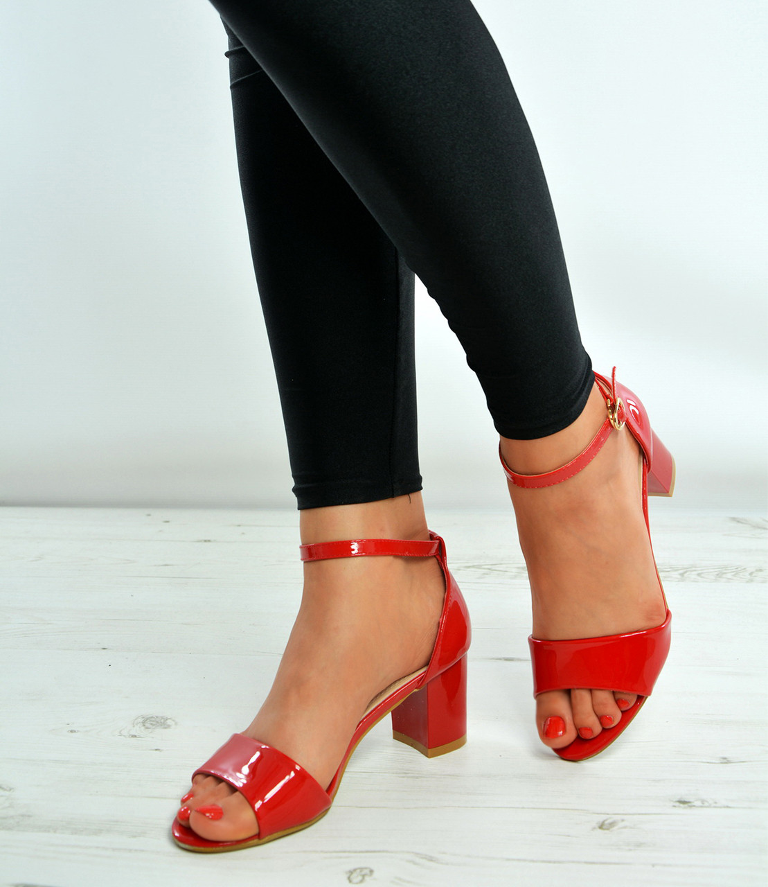 Red Ankle Strap Mid Block Heel Sandals Shoes Size Uk 3-8