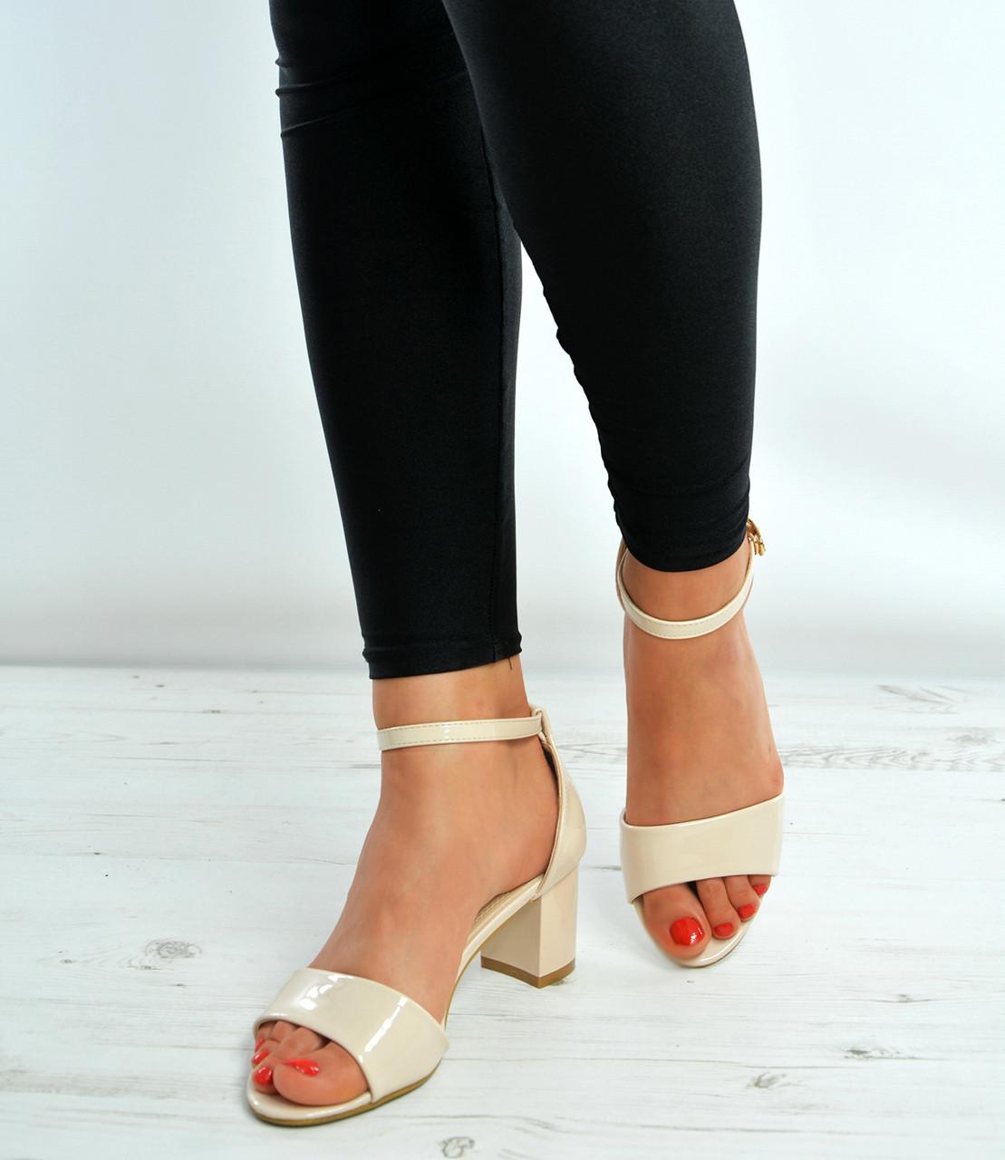 e0ee5d825ef Beige Ankle Strap Mid Block Heels Sandals Shoes Size Uk 3-8