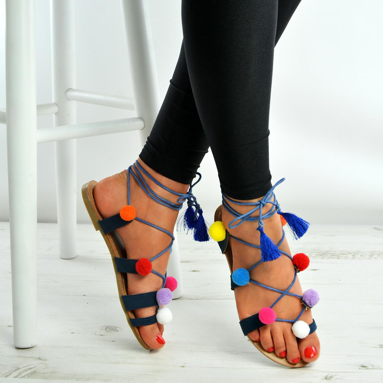b712c1074c0ea Navy Blue Multi Color Pom Pom Lace Up Flat Sandals Shoes Size Uk 3-8