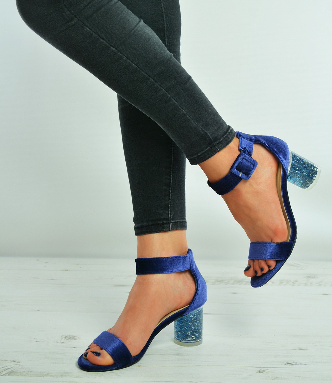 9e5f7e98a85 Blue Velvet Ankle Strap Perspex Stylish Heel Sandals Shoes Size Uk 3-8