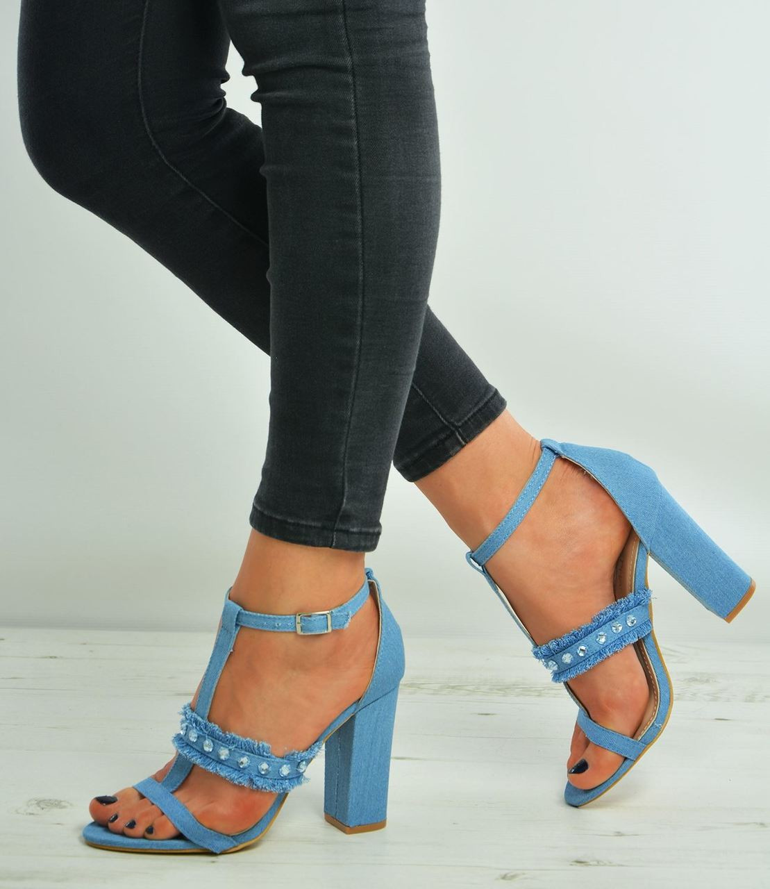 027c117afaa82d New Womens Ladies Studded Ankle Strap Denim Block Heel Sandals Shoes Size  Uk 3-8