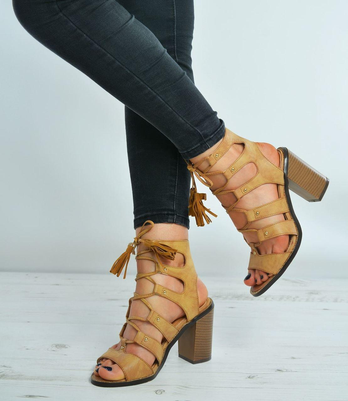 Fringe Ankle Sandals Block Heel