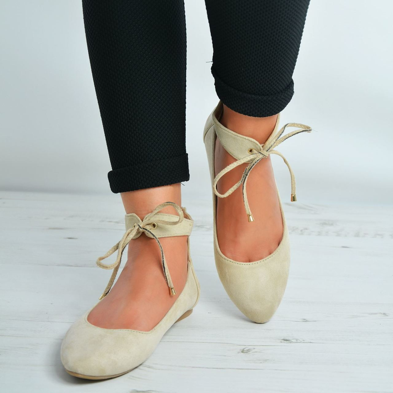 New Womens Ladies Ankle Strap Lace Up