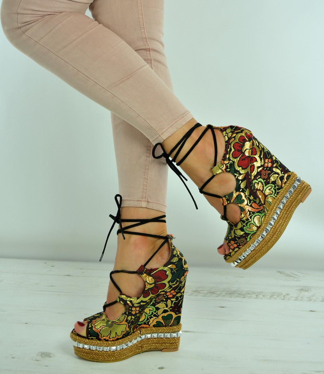 6ea653bbc29 New Womens Ladies Rock Studs Embroidered Wedge Platforms Sandals Shoes Size  Uk