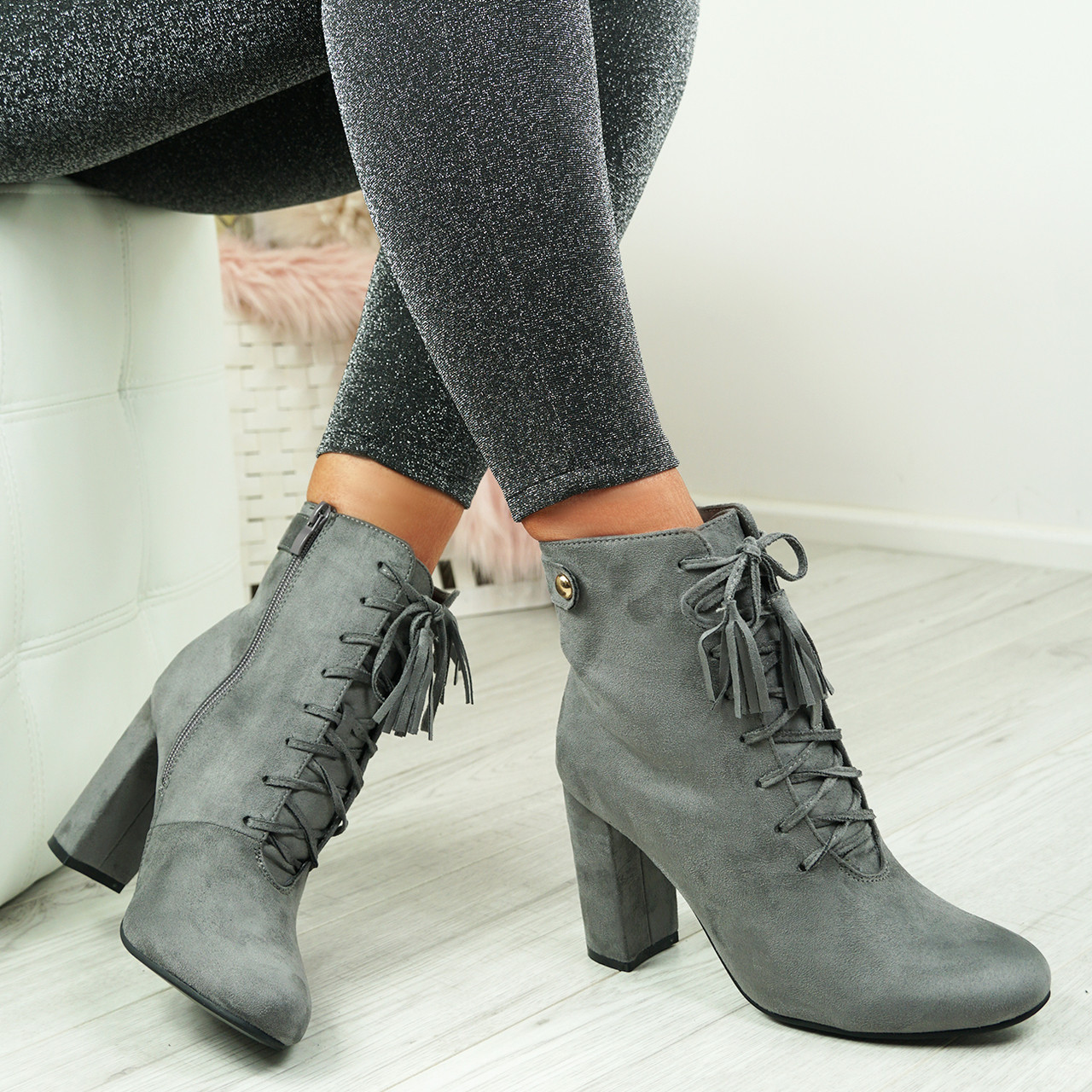 7420f0da4a1 Audrey Grey Block Heel Ankle Boots