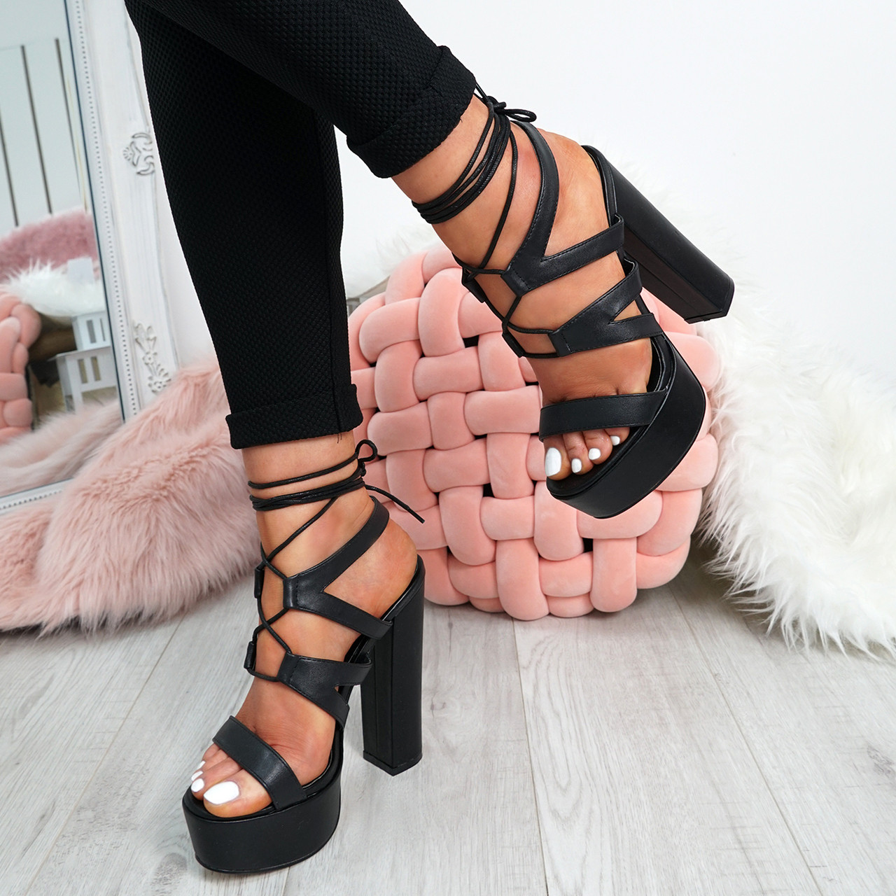 8d9379c927ab New Womens Cross Lace Sandal Platforms Ladies Girls Peep Toe High Block Heels  Shoes Size Uk 3-8