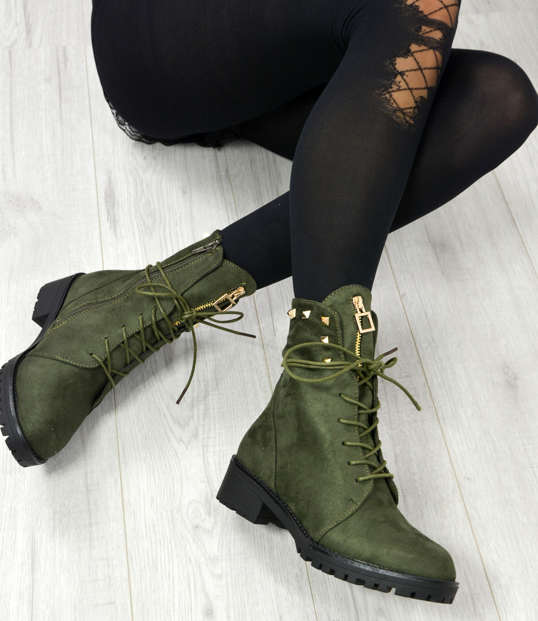 ecd1cd452a8 Brand New Womens Biker Boots Ladies Girls High Block Heels Spike ...