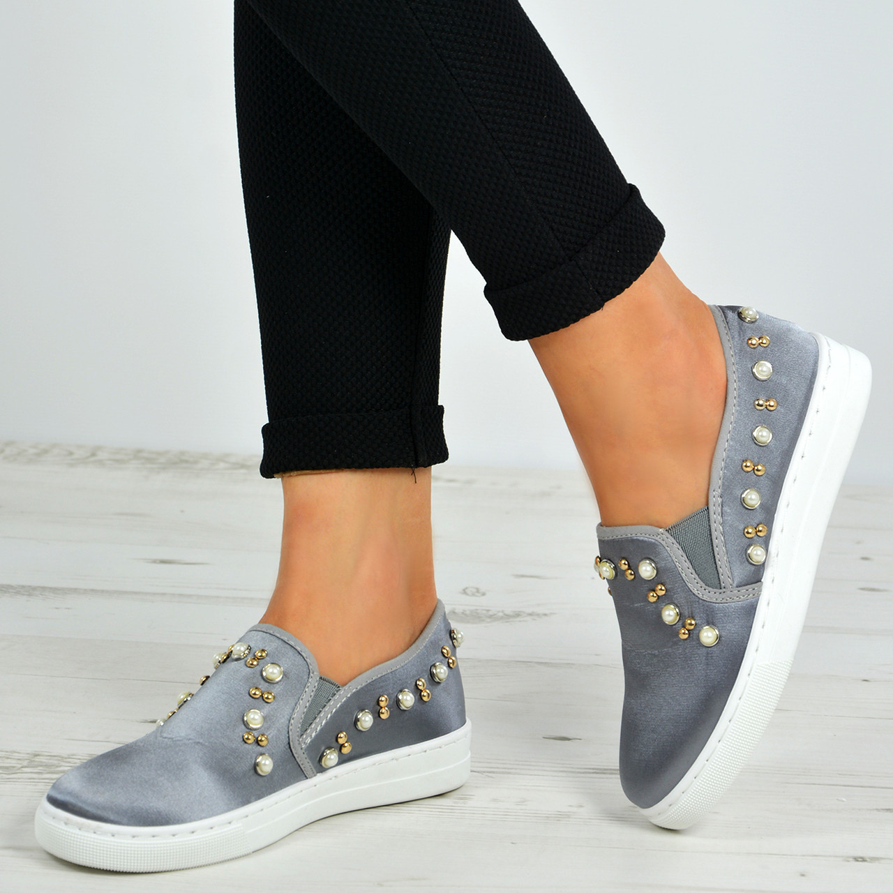 Flat Slip On Pearl Trainers Pumps Shoes
