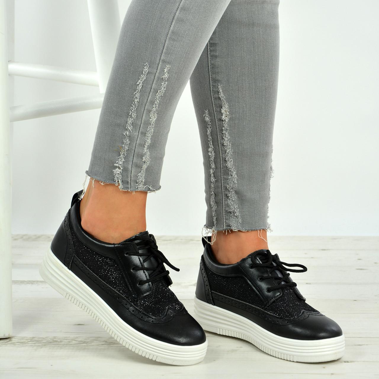 1d151fb2a4b1 New Womens Ladies Glitter Sparkle Lace Up Oxfords Plimsolls Trainers Shoes  Size