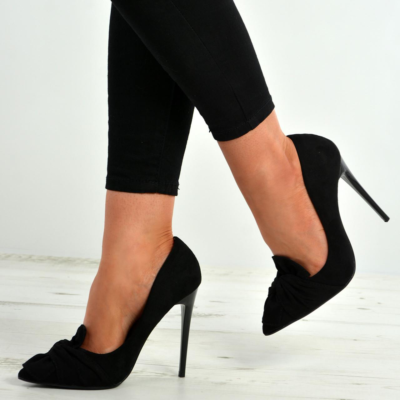 2d2859e5ac922 New Womens Ladies Bow High Stiletto Heel Court Pumps Shoes Size Uk 3-8