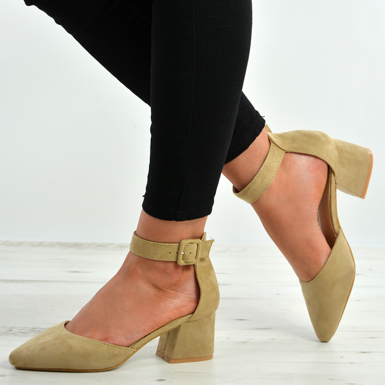 98f00dd34a6 New Womens Ankle Strap Pumps Ladies Low Mid Block Heel Pointed Shoes Sizes  Uk