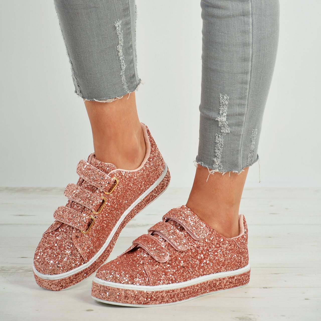 New Womens Ladies Velcro Glitter