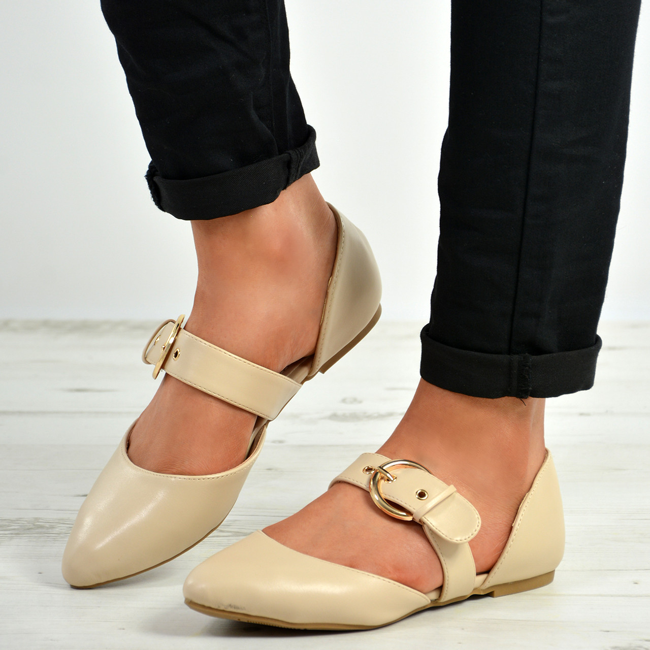 6989a9544 India Beige Buckle Pointy Ballerina