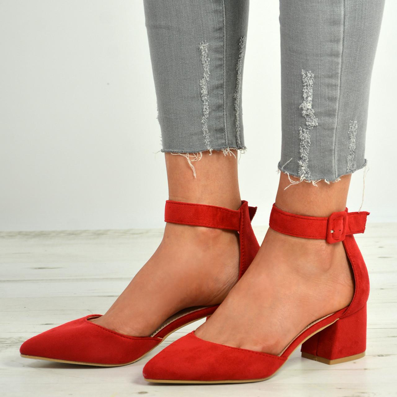 Red Suede Block Heels, Pointed Toe
