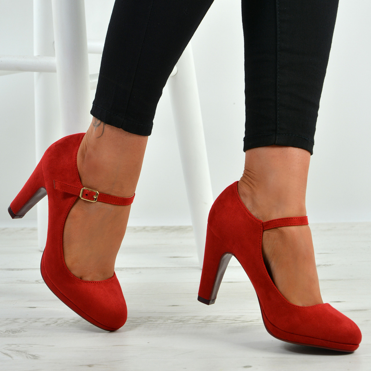 1c7e0f60f57 New Womens Ankle Strap Pumps Ladies High Block Heel Buckle Shoes Size Uk 3-8