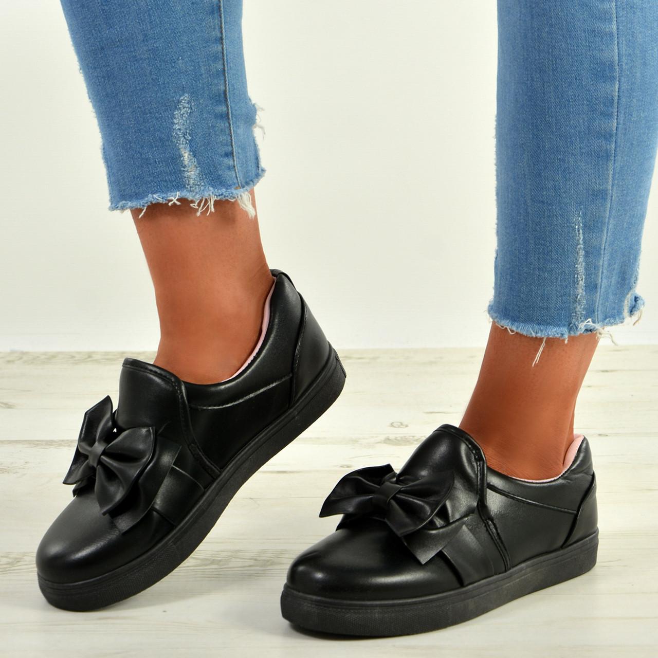 Womens Bow Slip On Sneakers Ladies Pu