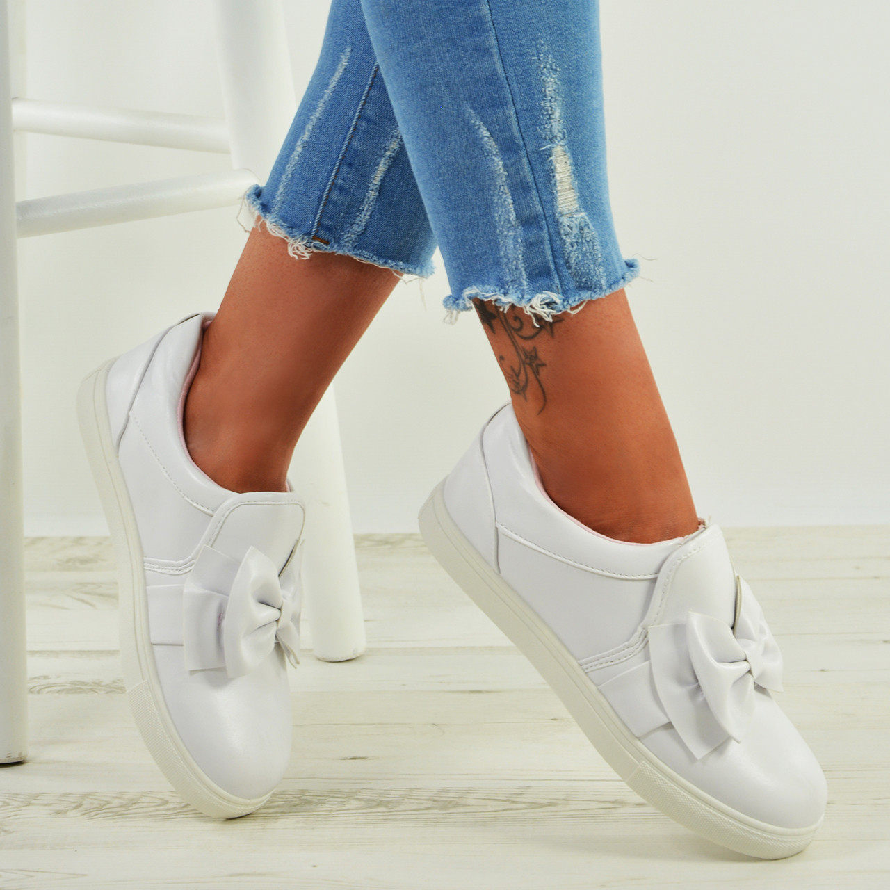 New Womens Bow Slip On Sneakers Ladies