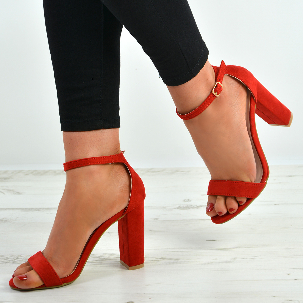 1e9fb2db026 New Womens Ankle Strap Block Heel Sandals Peep Toe Ladies Shoes Size Uk 3-8