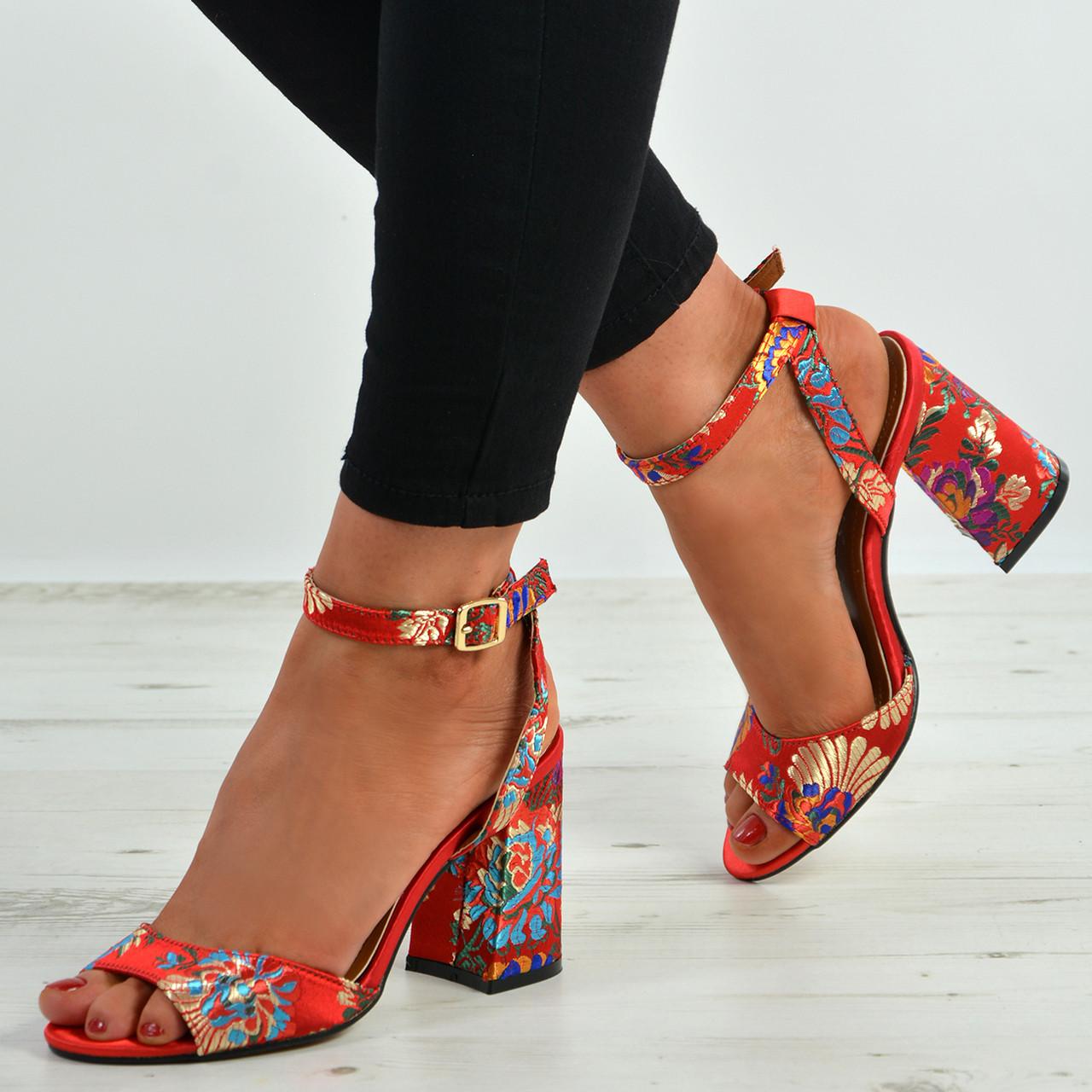 8fe9792f1b9 New Womens Ladies High Block Heel Peep Toe Floral Sandals Ankle ...
