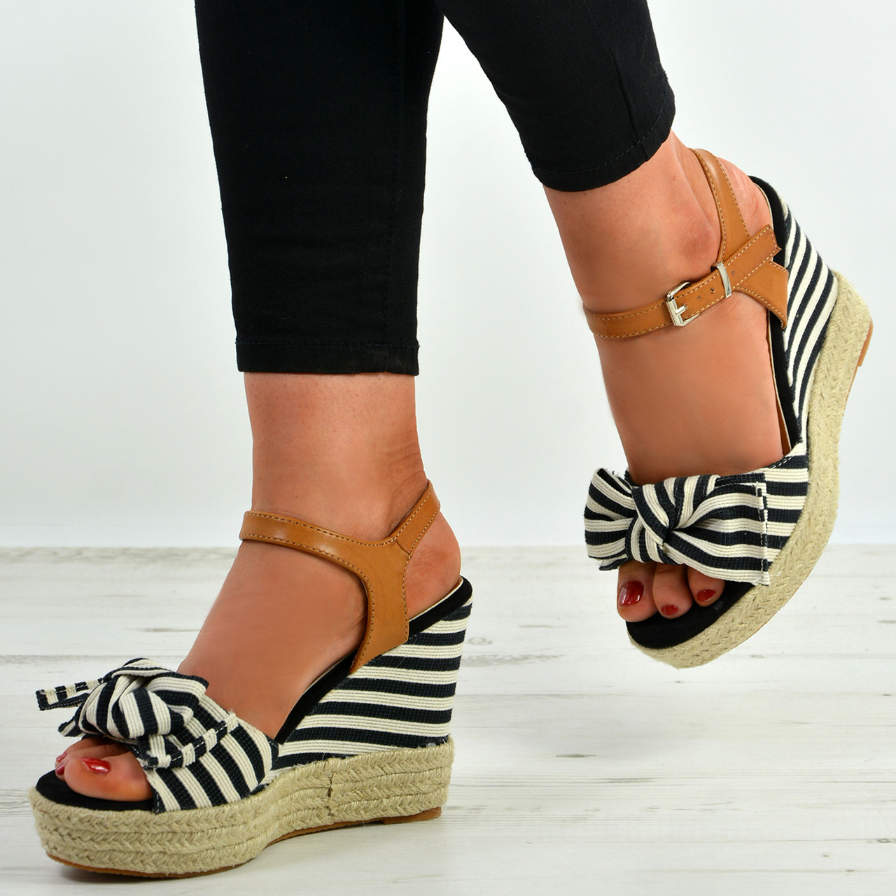 e0405e5667 New Womens Bow Espadrille Wedges High Heels Platform Ankle Strap Shoes Size