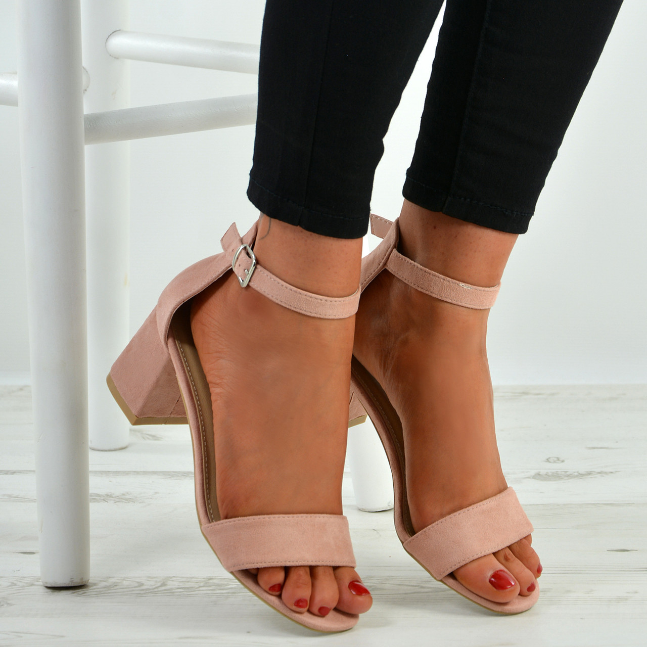 b2df9917e6f9 New Womens Ladies Mid Block Heel Ankle Strap Peep Toe Shoes Sandals Sizes