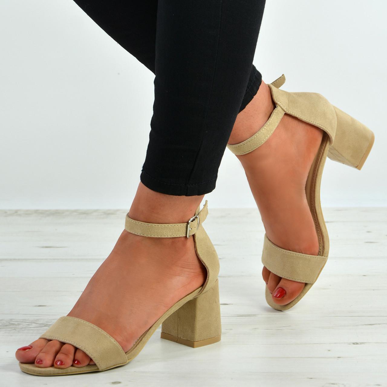 abc3d3e41ec New Womens Ladies Mid Block Heel Ankle Strap Peep Toe Shoes Sandals ...